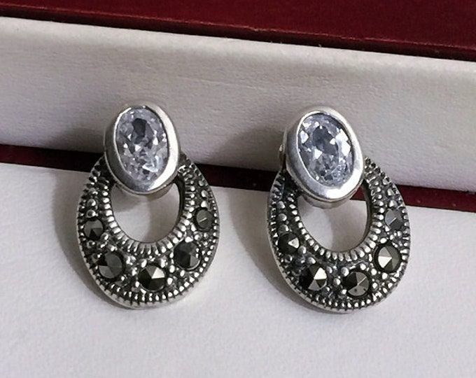 "Vintage Sterling Silver Marcasite and Clear CZ Drop earrings, Vintage Elegance, 5/8"" - 17mm long"