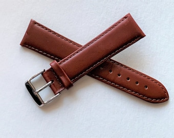 Timex Genuine Oiled Leather Watch Band, 20 mm Lugs, Padded Stitched For Dress or Sport, Brown - Stainless Buckle, Old Stock Never Used