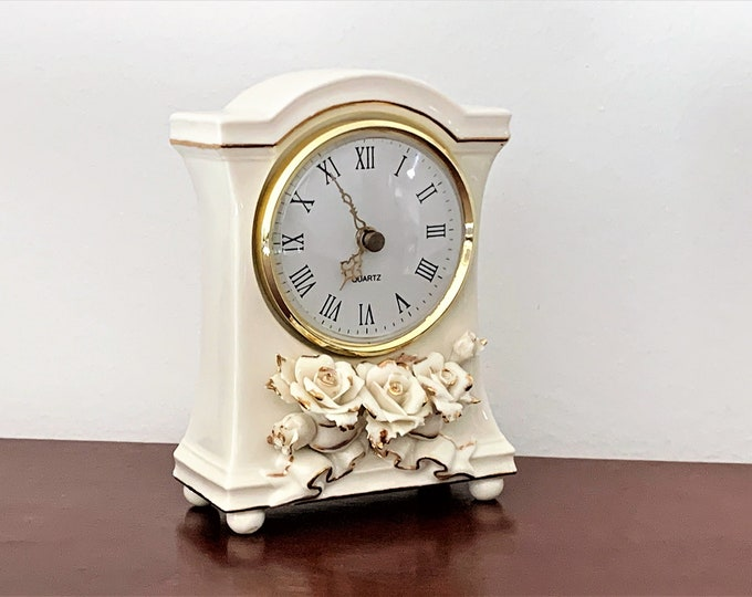 "Avon Floral Porcelain Clock, 3D Roses, Cream and Gold, Large Dial W/Ornate Gold Hands, 6.25"" T. 4"" W. 2"" D, Mint Condition, Free US Shipping"