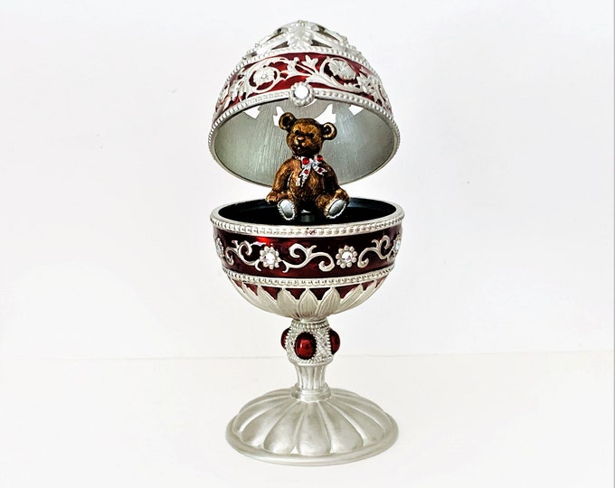 "Jane Seymour Burgundy Silver Jeweled Enameled Hinged Egg Music Box Rotating Jeweled Bear, Mint Condition.  6.75"" T. 3.5"" W. Free US Shipping"