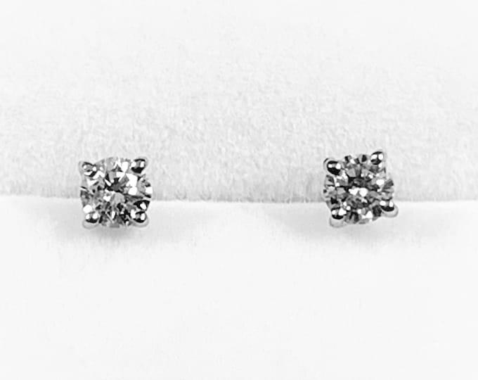 Diamond Studs, Natural High Grade Round Brilliant VS-F, 14K White Gold Screw Backs (For Pierced Ears), .52 Carat. 4 mm. Free US Shipping.