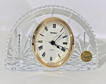 """Vintage Staiger Germany & Cristal D' Arques France Fine 24% Lead Crystal Clock, 6"""" Wide, 4.25"""" Tall, Very Sharp Clock. Free US Shipping"""