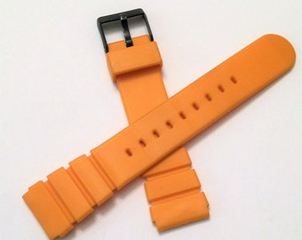 Vintage Rubber Sport Watch Band, Heavy Duty Flexible Water Resistant, 20 mm Lugs, Old Stock