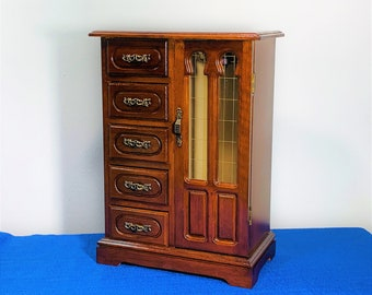 """Vintage Solid Wood Jewelry Armoire, Ornate Carved Door W/Rings Tray, 5 Large Drawers,  Hangers, 14"""" Tall, 10"""" W. Restored. Free US Shipping."""