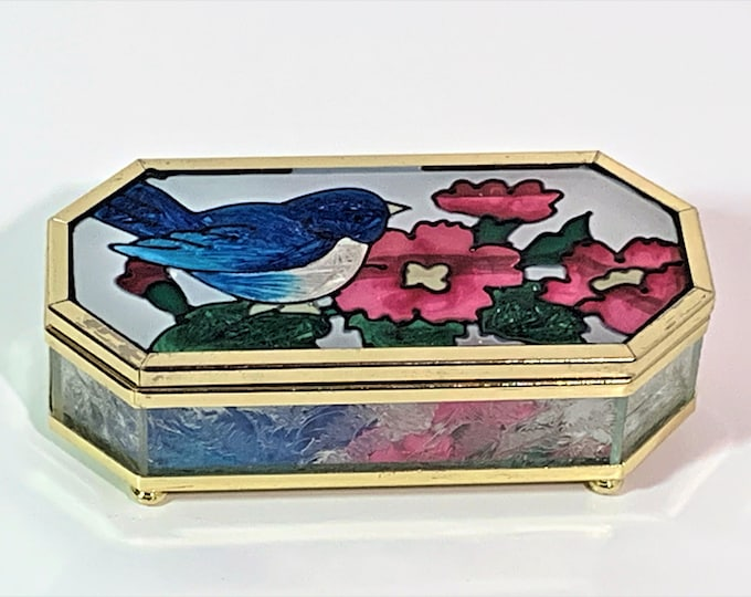 """Stained & Frosted Glass, Brass Rims and Feet Trinket Box, Bird and Flowers, Mirror, 4.5"""" W. .25"""" L. Octagon Shape, Great Condition."""
