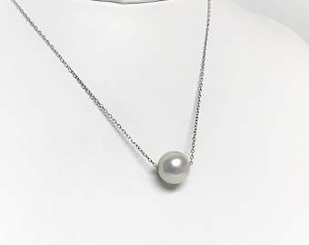 """Single Pearl Necklace, 10 mm South See White Pearl, 18"""" Sterling Silver Fine Link Chain, Simply Beautiful. 'Purity, Loyalty and Wealth'."""