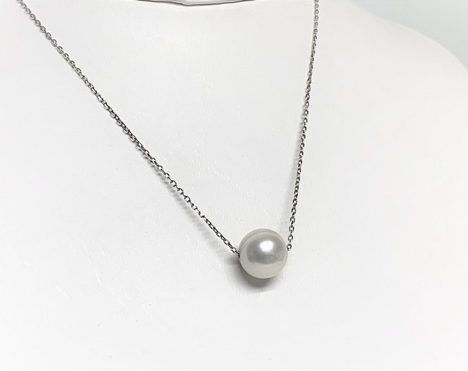 "Single Pearl Necklace, 10 mm South See White Pearl, 18"" Sterling Silver Fine Link Chain, Simply Beautiful. 'Purity, Loyalty and Wealth'."