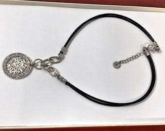 """Vintage Israel Sterling Silver Designer Large Filigree Floral Disk Necklace, Signed & Hallmarked, Double Strand Leather Cord, 18"""" Long."""