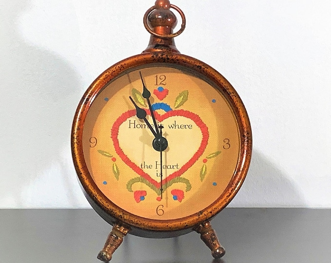 """Vintage Artistic Fire Glazed Metal Clock, Hand Crafted, Large Colorful Dial Quotes """"Home Is Where The Heart Is"""". 10"""" T. 6.25"""" W. So Unique."""