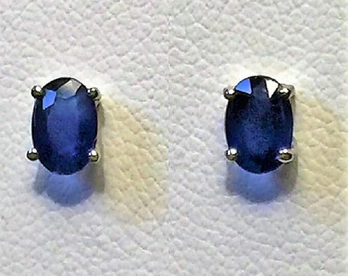 14k White Gold Blue Sapphire Studs, Natural High Grade Sapphire T.W 1.08 carats. 6X4 mm, Screw Backs