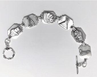 "Vintage Native American Theme Bracelet, Sterling Silver, Ornate Toggle Clasp, 3D Symbols, 7 1/2"" L. 5/8"" W. 17.10 Grams. Unique Bracelet."