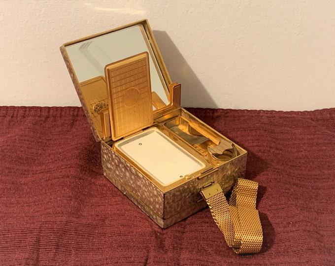 "Vintage Evans Elegance Gilded Evening Wristlet Necessity Vanity Carryall Purse, 1940s Glam Style, 5.5"" Strap, 3.25"" Square. AMAZING"