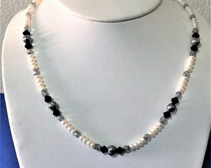 """Custom Made necklace, White Pearls (FW), Gray Tone Pearls, Faceted Black and Aqua Crystals, Gold Filled 14/20 lobster Claw Clasp, 17"""""""