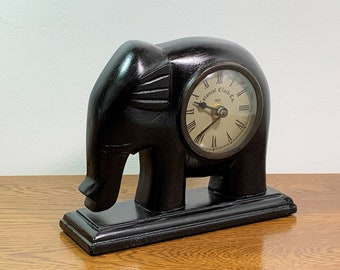 """Vintage Hand Carved Wood Elephant Clock, Colonial Clock Co. Quartz Movement,  7.5"""" W. 6"""" T. Restored, Works. Made In India, Free US Shipping"""