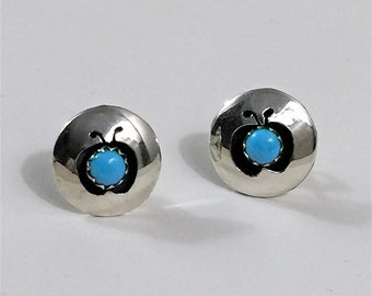 """Sterling Silver Natural Turquoise Stud Earrings, Hand Made, Solid Blue Turquoise, Vintage, 1/2"""" - 13 mm"""