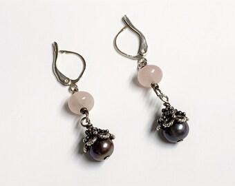 "Vintage Sterling Silver Dangle Earrings, Rose Quartz & Black Fresh Water Pearl, Hand Made, Lever Backs, 1.5"" Long, Very Nice."