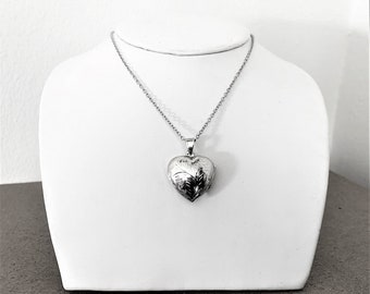 """Sterling Silver Etched Heart Shape Photo Locket with 20"""" Rolo Chain. Lobster Claw Clasp, 7.10 Grams. Free Shipping"""