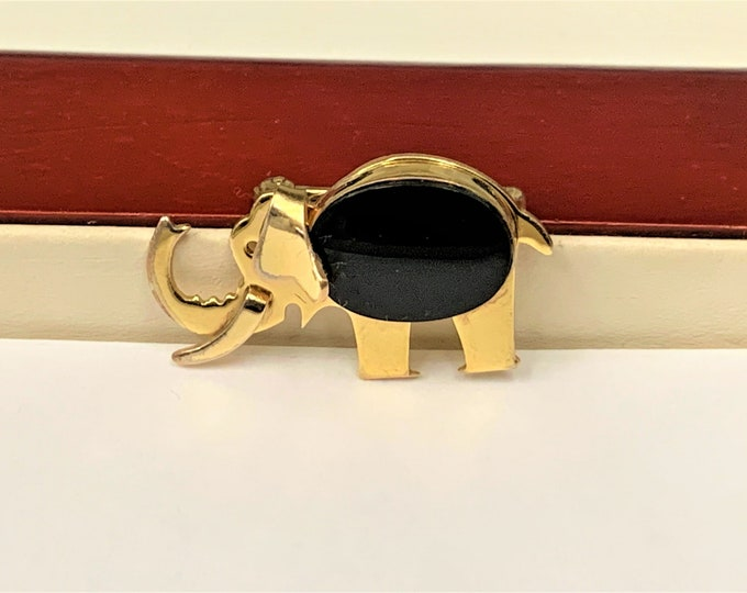 "Vintage 12K Gold Filled Black Onyx Elephant Brooch, Good Luck Spiritual Jewelry, Signed WRF, Circa 1950's. 1 1/4"" x 3/4"". Very Nice"