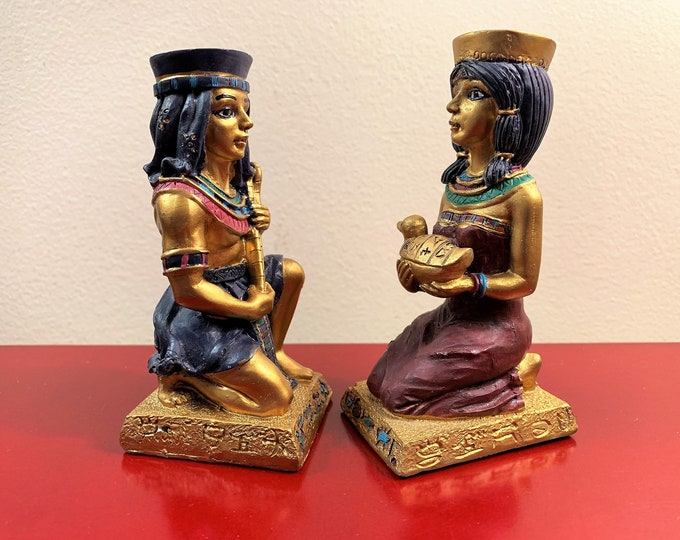 "Vintage 2 Egyptian Figurines, Resin, Hand Made and Painted ""Artist's Version"", 4 1/4"" Tall - 2"" Wide, Excellent Condition. Nice"
