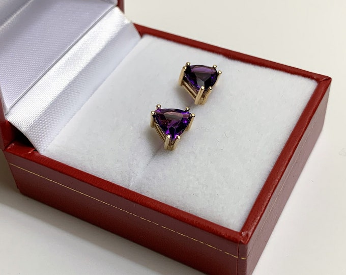 14K Yellow Gold Amethyst Earrings, Deep Purple Trillaint Cut 7.10 mm, 2.10 Carats. Solid Setting and Backs