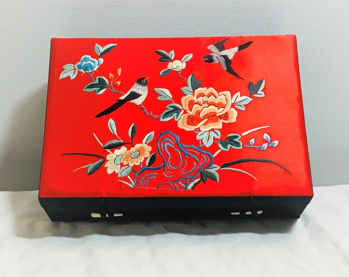 "Gorgeous Light Weight Travel Jewelry Box, Wood Cased W/ Thick Satin Fabric, Threaded Garden Birds Scene, 11.25"" W. 8"" L. Free US Shipping."