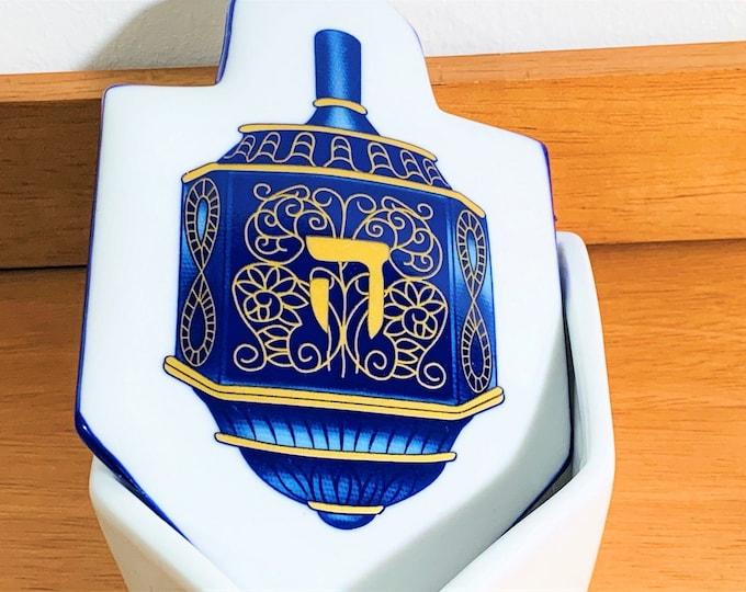 "Judaica Porcelain Trinket Box, Blue & Gold Enamel, Hebrew Letter 'Hay', Signed 'Davida', 6"" Long. 4"" Wide.Beautiful. Free US Shipping."