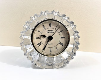 "Crystal Legends 24% Full Lead Crystal Mantle Clock, Beautifully Cut Deep Crystal Block, Quartz, 4"" X 4"" x 1 1/4"" D, Mint Condition."