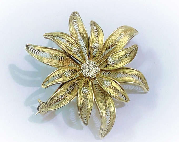 "Antique Sterling Silver Gold Clad Filigree Floral Brooch, Handcrafted in Portugal, 7 Grams, 2"" Diam, Refinished & Cleaned, Ready to Wear."