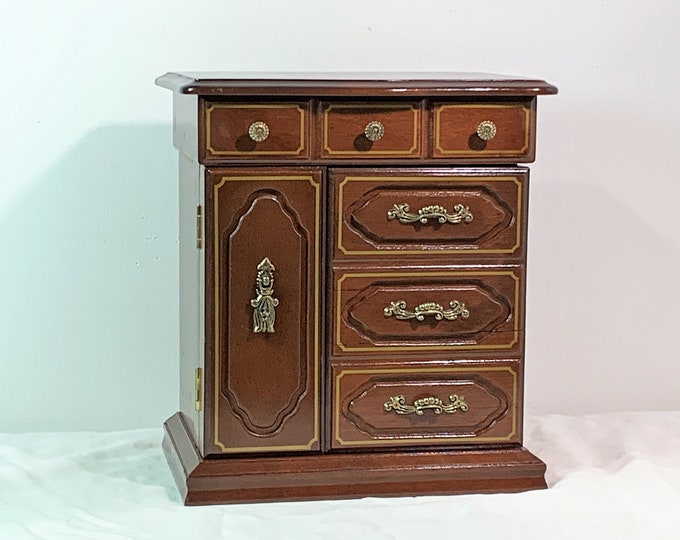 """VTG Hardwood Jewelry Armoire, Mahogany Finish W/Gold Trims, Hinged Top, 2 Fancy Doors, Hangers, 4 Drawers, 10.5"""" H. 9"""" W. Free US Shipping"""