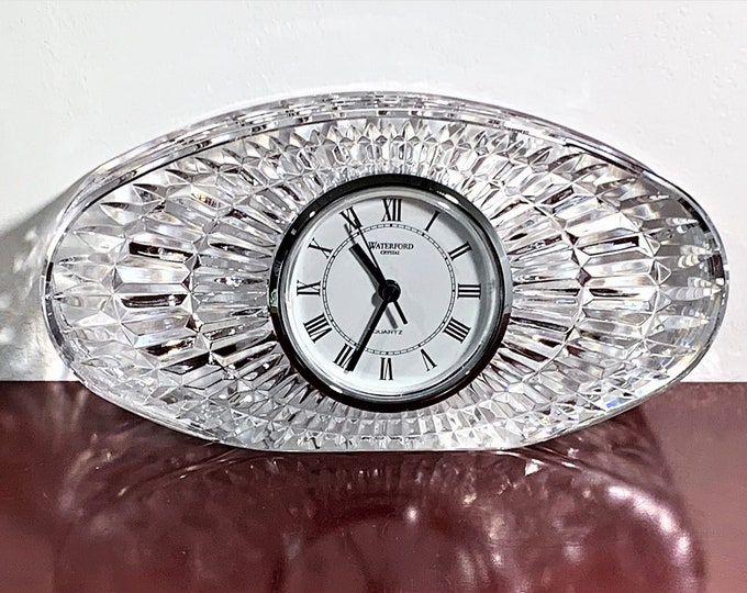 """Waterford Fine Crystal Large Oval Clock, True Elegance, Retired Edition in Top Grade Condition, 8"""" W. 4"""" T. Ireland. Free US Shipping."""
