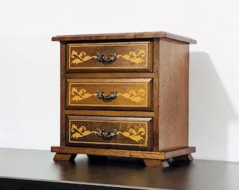 "Vintage Carved Rosewood Laurel Japan Music Box 'Moonlight Waltz', Gold Patterns Art, 3 Drawers. 8"" H. 7.5"" W. 5.5"" L. Circa 1960's. Restored"