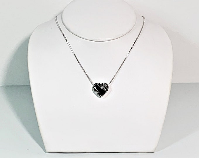 """Sterling Silver Heart Slide Necklace, Black Onyx & Marcasite, 16"""" Box Chain, 15mm Heart, 5.70 Grams. Simply Beautiful. Free US Shipping."""