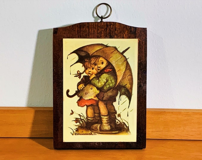 "Vintage Hummel 36 Wood Wall Art Plaque, ' Rain Children with Umbrella' Signed, 7.25"" T. 5.25"" W. Re-Stained. Free US Shipping."