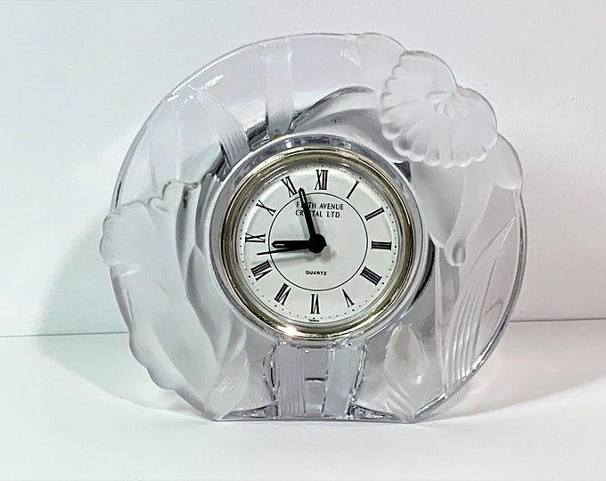 """Fifth Avenue Crystal Ltd Mantel Clock, Japan Hand Crafted Crystal, Taiwan Quartz Movement, Clear & Frosted. 6"""" W. 5.5"""" T. Free US Shipping."""