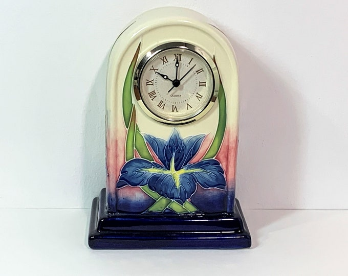 """Vintage Unique Old Tupton Ware Porcelain Clock, Hand Crafted & Painted, Precision Quartz. England. 6.75"""" T. 5"""" W. Serviced. Free US Shipping"""