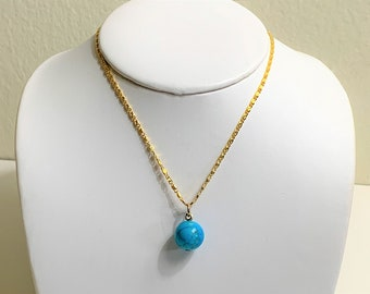 """Egyptian Turquoise Single Bead Necklace, 12mm , 18K Gold Filled 20"""" Chain, An Egyptian Tradition,"""