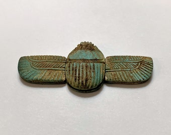 Vintage Ancient Egyptian Revival Faience Winged Scarab, 3 Pieces (as it was found), 60 mm wide, Abydos - Upper Egypt