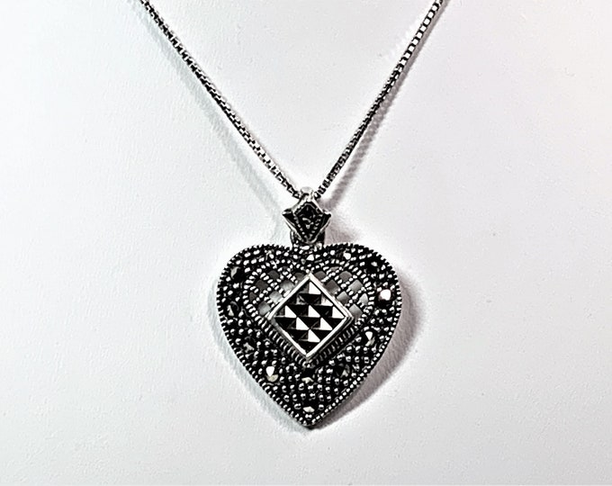 """Sterling Silver - Crosshatch Marcasite Heart Necklace, 18"""" Box Chain, Heart is 27 X 22 mm, Stunning"""