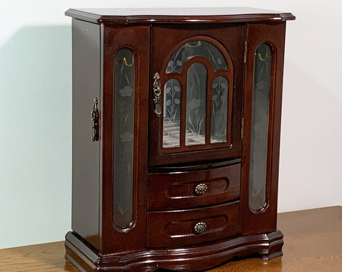 "Vintage Large Jewelry Armoire, 3 Doors, 3 Glass Windows, Hangers, Ring Section, 2 Drawers, Dark Mahogany, 13"" H. 11"" W. Free US Shipping"