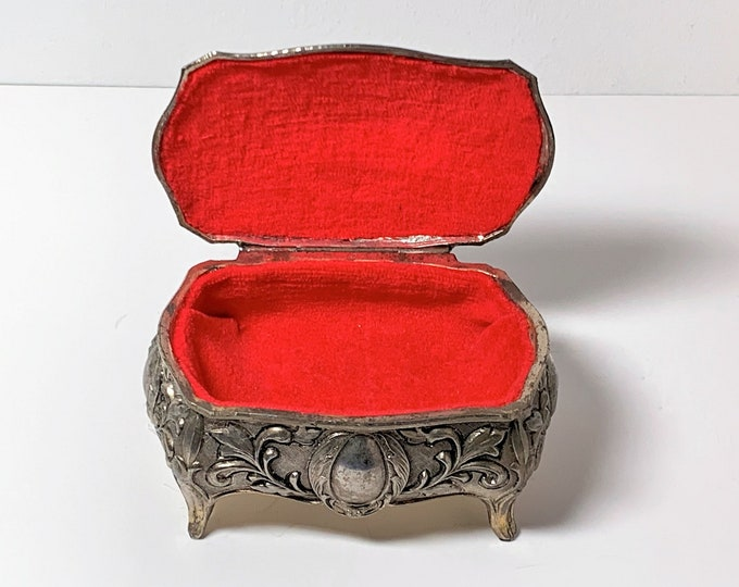 """Antique Silver Clad Small Treasure Box, Raised Patterns & Roses , 4 Feet, Red Velvet, 4"""" Wide, 2 1/4"""" High, Japan 1950's. Free US Shipping."""