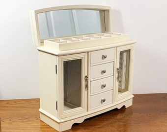 """Large Solid Wood Jewelry Armoire. 14"""" W. 11.5"""" T. Hinged Lid W/ Large Mirror, 2 Doors, 2 Hangers, 4 Drawers, Ring Tray. Free US Shipping."""