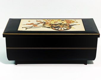 """Vintage Sankyo Japan Musical Jewelry - Trinket Box, """"Swan Lake"""", Glossy Black and Etched Plate, Mirror, 7"""" W, 3.5"""" D. 3"""" H. Free US Shipping"""