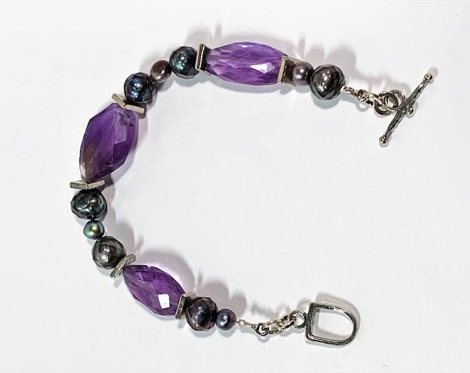"""Vintage Sterling Silver Natural Amethyst & Black Pearls Hand Made Bracelet, Toggle Clasp, 7.5"""" Long, 23 Grams, Unique Bracelet"""