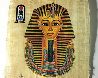 Vintage Hand Painted Egyptian Papyrus, King Tutankhamun Gold Mask, 10 x 8 inch, 3D impression, Very Realistic Painting