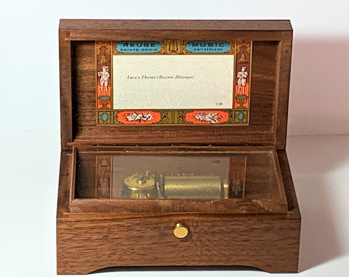 Collectible Reuge Sainte-Croix Swiss Classic Walnut 36 Note Music Box, Lara's Theme (Doctor Zhivago), Top Grade Condition. Switzerland Made