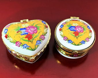 "2 Vintage Venetian Porcelain Hand Crafted Hinged Pill - Trinket Boxes, Round & Heart Shape, beautiful Colors. 2.5"" - 3"". Free US Shipping."