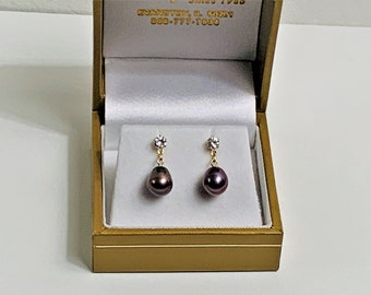 """14K Yellow Gold Black Pearls Dangle Earrings, Natural Freshwater Pearls Teardrop Shape 7 X 8 mm, CZ Accents, 3/4"""" Drop.. Free US Shipping."""