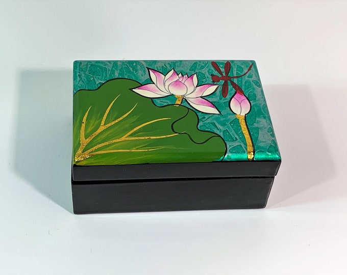 "Venetian Hand Painted Small Jewelry - Trinket Box, Fancy Red Lining, Mirror, High Gloss Black Finish, 4.25"" W. 3"" L. 2"" H. Free US Shipping."
