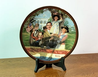 """Norman Rockwell 1990 Limited Edition Collectible """"Our Love Of Country"""" Plate. Signed & Numbered, 8.5""""  - Stand Included, Free US Shipping."""