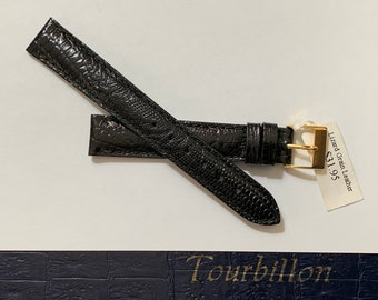 Vintage Tourbillon Italy Genuine Leather - Lizard Grain Watch Band, 12 mm Lugs, Padded Stitched Water Resistant, Heavy Duty, Black